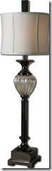 29928-1_2_Camerana Lamps 38 in high shade 11 in dia Uttermost price 255 00 on each end table in Livingroom