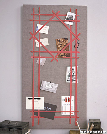 Pretty and practical, our ribbon board has been keeping work spaces clean since it was introduced -- and keeping party invitations, postcards, and photographs organized and easy to spot. The board can be made from Homosote fiberboard, available at lumber yards. Have it cut to size. Pull linen taut around front and sides of board, and staple it to back, securing two opposite sides first, then the other two. Be creative in arranging ribbons in a pattern on the surface. (The pattern at left is modeled after a garden trellis.) Use upholstery tacks to secure ribbons. Tuck your cards behind the ribbon; you'll need few, if any pushpins. Screw a picture hanger to the back, and hang the board on the wall.