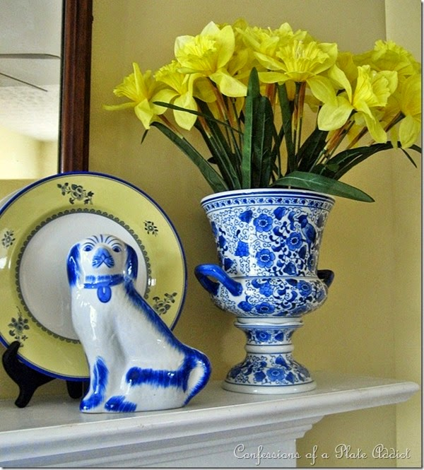 CONFESSIONS OF A PLATE ADDICT Blue and Yellow Spring Mantel