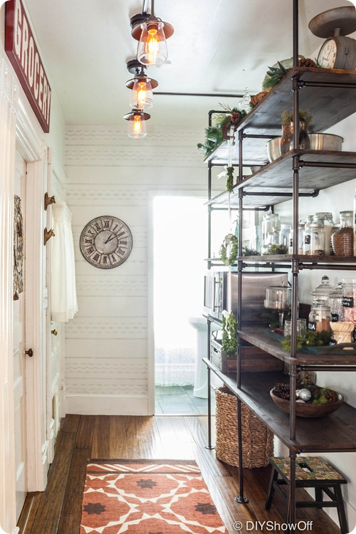 wood and pipe shelving