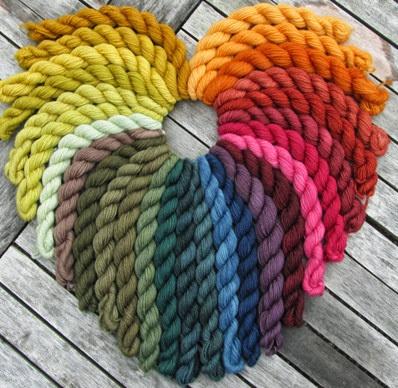 Pflanzenfärbungen auf Sockenwolle 230 g 2