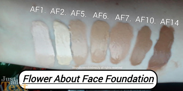 Flower by Drew Barymore: About Face Foundation; Review & Swatches of Shades AF1, AF2, AF3, AF4, AF5 AF6. AF7, AF8, AF9, AF10, AF11, AF12, AF13, AF14,
