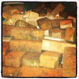 Picked up the bricks from Tom and Iman's place (thanks).  It WAS a nice, organized pile in the trunk of the car… but the bricks decided is was more comfortable to sprawl the ENTIRE back of the car.