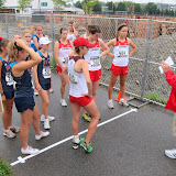 Bill Pollinger giving final instructions to the race walkers.