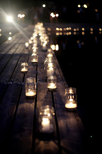 Canning jars with candles lined the dock. Taryn said the effect, at sundown, was brilliant and so romantic.