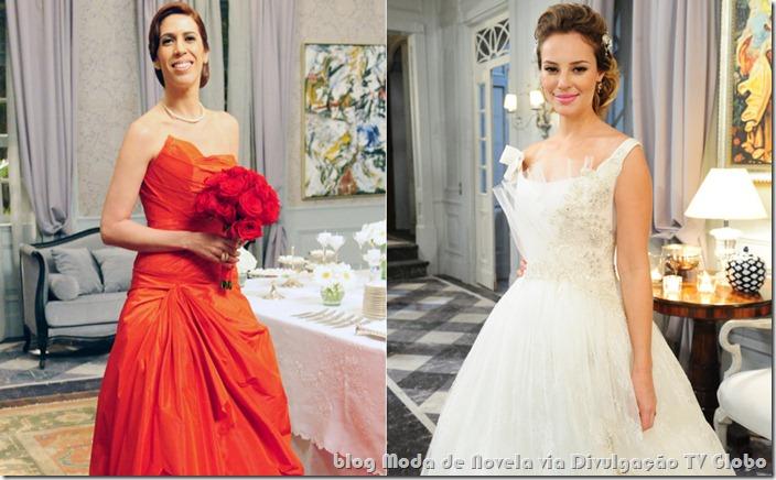moda da novela insensato coração - vestidos de noiva de bibi e marina