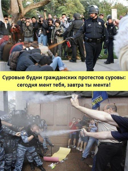 Суровые будни гражданских протестов суровы: сегодня мент тебя, завтра ты мента!