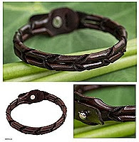men's unique braided leather bracelet
