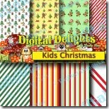 kids christmas digital paper pack