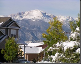 A similar view of Pikes Peak from our home on Meade Street