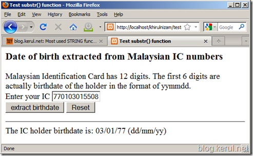Extract birthdate from Malaysian IC number