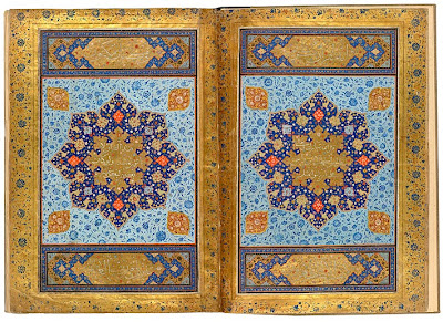 The Jerrāḥ Pasha Qur˒an Qur˒an, in Arabic. Persia, Shiraz, ca. 1580. On paper. 483 x 340 mm. This Qur˒an (19 x 13 1/2 inches) is from Shiraz (ca 1580). In 1719–20 it was given by Sultan Aḥmad III to the mosque of Jerrāḥ Pasha in Dikili Tash in Istanbul. The opening pages express the majesty and magnificence of the Qur˒an. Within the facing sunbursts are inscribed the words from sura 17.88: God, blessed and exalted is he, said, say, if mankind and the jinn collaborated to produce the likes of this Qur˒an, they will not produce its like even if they assist one another. The jinn were pre-Adam angels cast down with Iblīs (Satan). Within the four cartouches are the words from sura 56.77–9: It is the noble Qur˒an, in a Book well guarded, which none shall touch but those who are clean.