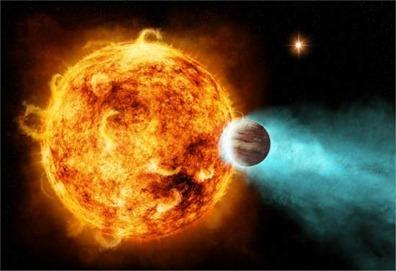 estrela disparando alta energia em planeta
