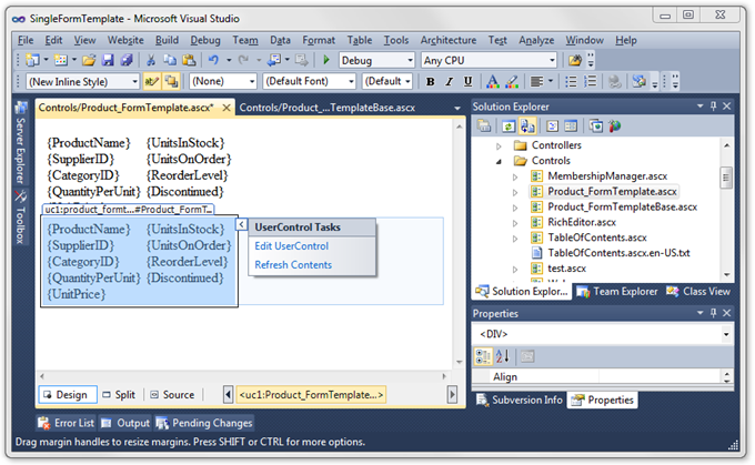 User Control base template displayed in two instances of view-specific templates