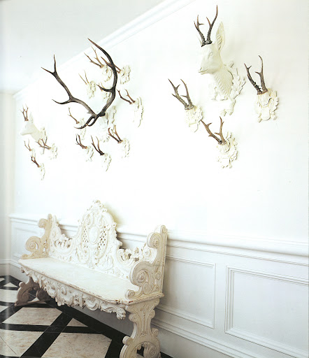 Westbury, a house Roehm decorated for a friend, resembles a neoclassical hunting lodge.