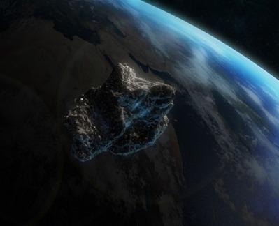 ilustração do impacto de asteroides na Terra