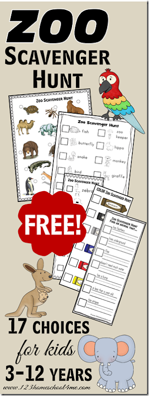 FREE Zoo Scavenger Hunts - 17+ different scavenger hunt worksheets for kids from toddler, preschool, kindergarten, first grade, 2nd grade, 3rd grade, 4th grade, 5th grade, and 6th grade kids in both color and black and white, with pictures for non readers and ones for readers. These are great for fieldtrips for science