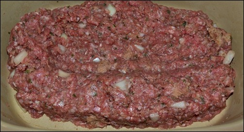 first layer of stuffed meat loaf