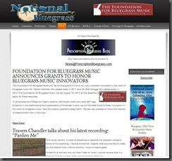 National Bluegrass Website Features Prescription Bluegrass News!