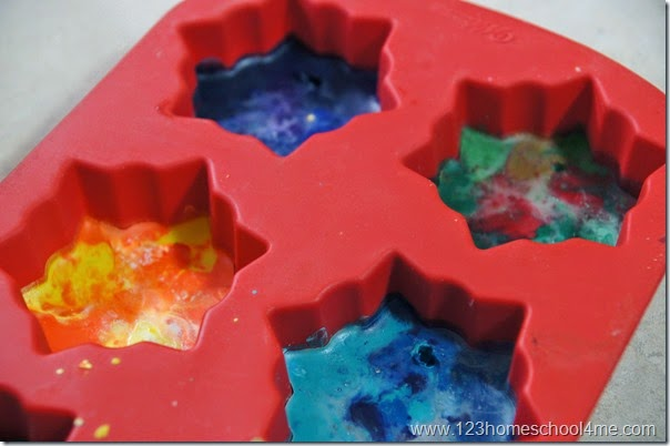 allow the melted crayons  to cool until set