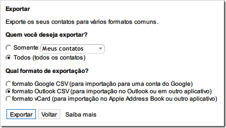 Exportar em formato Outlook