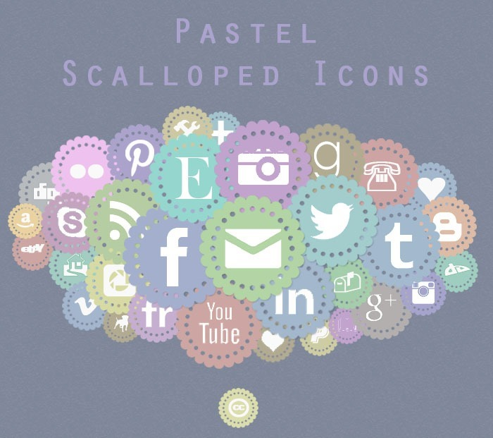 free pastel scalloped icons