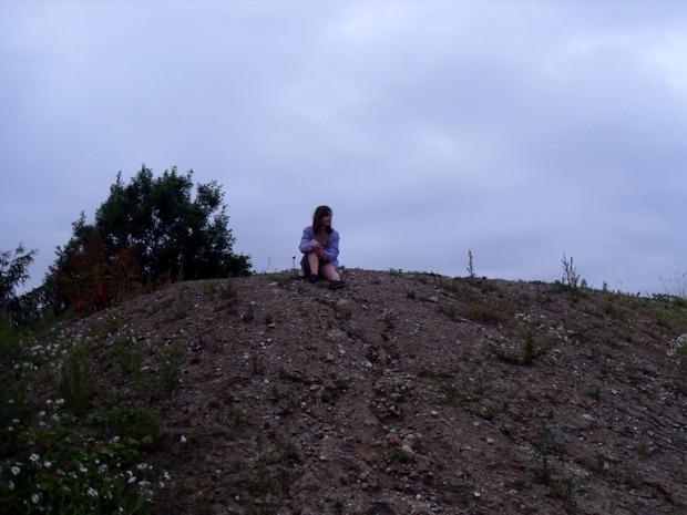 på toppen af grusbunken