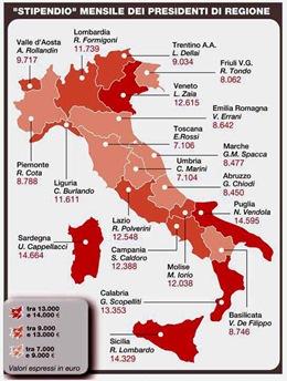 Stipendio Presidenti Regioni