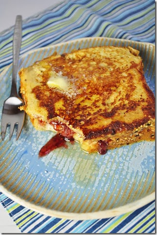 Gluten Free French Toast stuffed with peanut butter and jelly