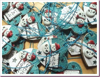 Let It Snow Christmas Heart Tags C