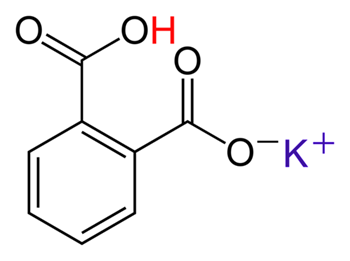 KHC8H4O4 is potassium hydrogen phthalate. The word 'hydrogen' is referring the the acidic hydrogen. This hydrogen comes off to neutralize the any OH- ions. In the image below a potassium ion has replaced a hydrogen. Before the hydrogen was replaced, the molecule was called phthalic acid. chemistryland.com