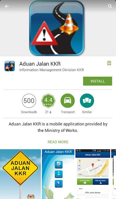 Aplikasi Mobile Aduan Jalan KKR Kementerian Kerja Raya