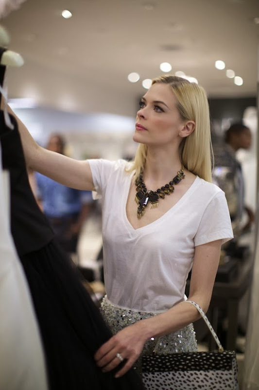 Jaime King admiring special occasion gowns from Truly Zac Posen at David%27s Bridal in West Hollywood