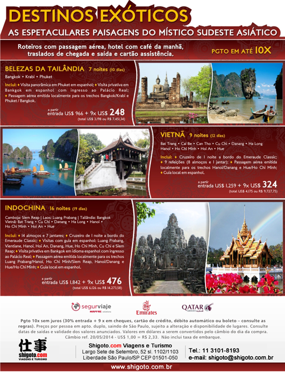 Pacotes de viagem para o sudeste asiático