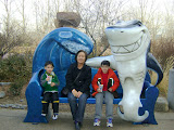 Michiko with the boys at the Denver aquarium