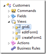 View 'grid1' of Customers controller in the Project Explorer.