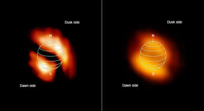 zonas de dois gases brilham na atmosfera de Titã