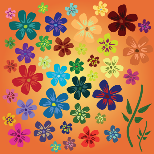 Vector - Flowers_orange_BG by DragonArt