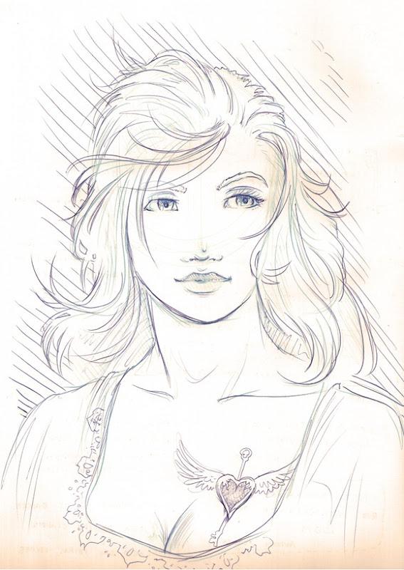 sketch mulher tattoo