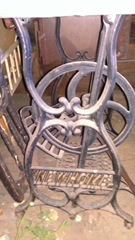old new home sewing machine treadle w name