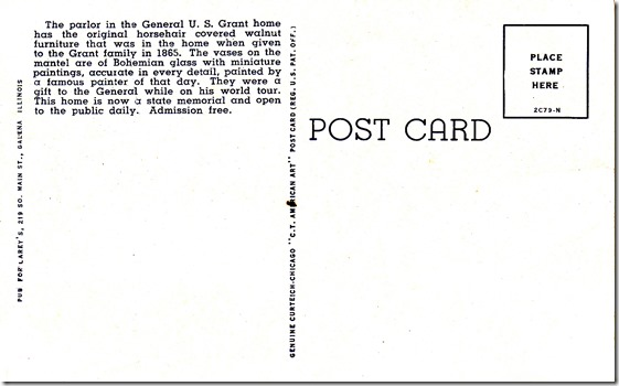 Parlor, General U.S. Grant Home - Galena, Illinois Vintage Postcard pg. 2