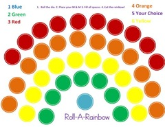 Roll A Rainbow Preschool Game printable page