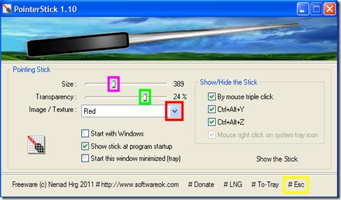 PointerStick finestra di gestione