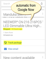 automatic shipping update via Google Now