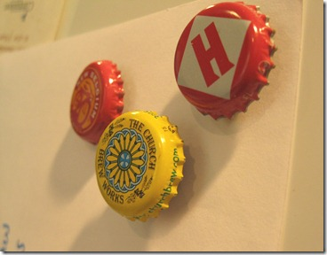 bottle cap magnets. upcycled beer bottle tops (2)