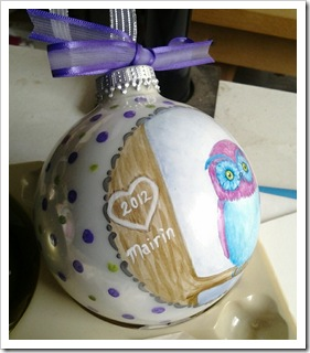 Pretty Little Blue & Purple Owl Ornament
