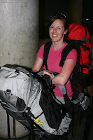 Lynette trooping along with about 30Kg of backpack!