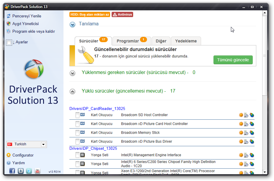 DriverPack Solution 2013 v13 Türkçe