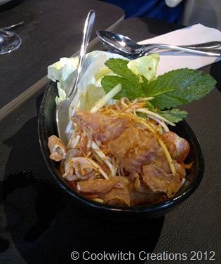 Crispy fish with green mango salad