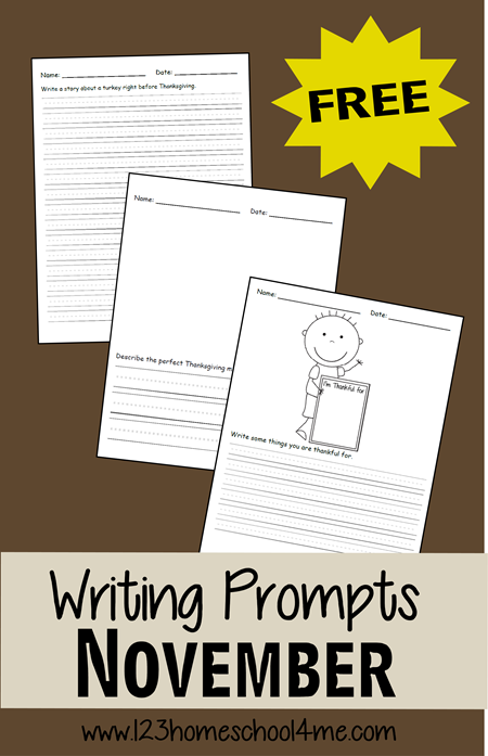 Writing Prompts - FREE November Writing Prompts for Kids from Kindergarten, 1st grade, 2nd grade, 3rd grade, and 4th grade with lots of different topics and using 2 different styles of lines